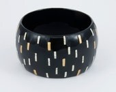 Bracelet EggShell   - Black and White  & Gold -