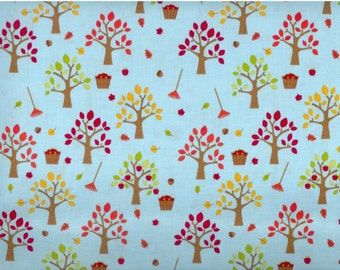 Happy Harvest fabric - Orchard Fall apple trees blue - Riley Blake - by the YARD