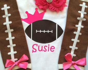 Baby Girl Football Outfit - personalized baby girl outfit - football legwarmers - girly football outfit- football outfit