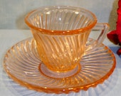 Diana by Federal Pink Depression Glass Demitasse Cup and Saucer