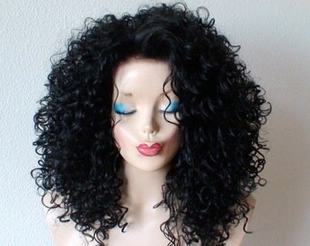 Lace front wig. Black lace front wig. Black curly wig. Heat resistant synthetic wig