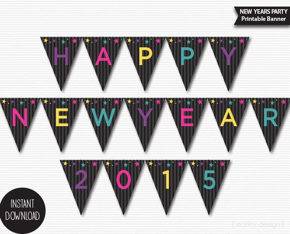 Printable Happy New Year Banner Instant Download New Years Banner Kids ...