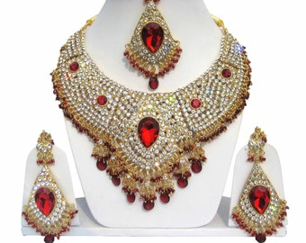 Indian Jewellery Set Handmade Gold Alloy and Rhinestones Red & Clear Stones AQ/15