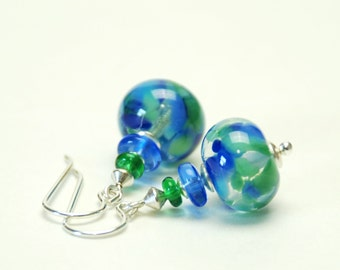 Sapphire Blue Lampwork Earrings - Blue and Green Artisan Lampwork Glass and Sterling Silver Earrings - Handmade Jewelry