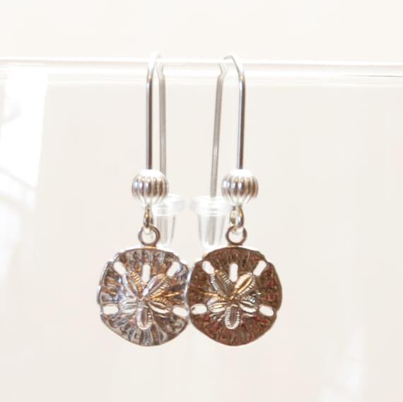 Petite Sterling Silver Sand Dollar Earrings - Beach Jewelry