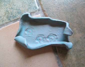 Fish and Waves Freeform Dish in Satin Turquoise, Hand Built, Textured, Stamped Terracotta, Jewelry, Trinkets, Guest Soaps, hiddenfirepottery
