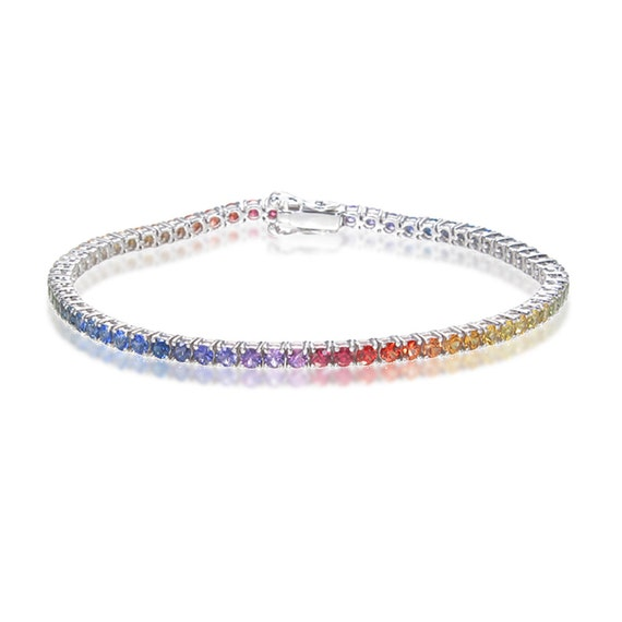 lgbt pride rainbow sapphire bracelet sterling silver by