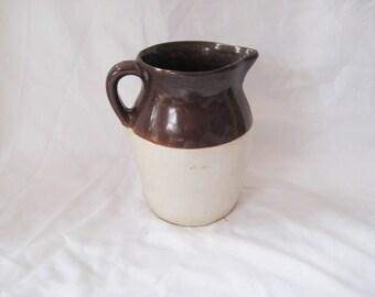 Crock water pitcher, brown glaze pitcher, large vintage crock pitcher, one gallon pitcher, rustic primitive decor, farmhouse