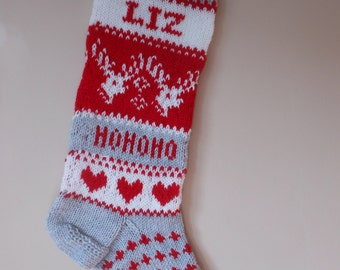 READY TO SHIP  Personalized Christmas Stocking Hand Knitted  with Reindeer Christmas Gift Christmas Decoration