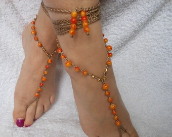 Crochet Barefoot Sandals Beach Wedding  Yoga Shoes Foot Jewelry Orange