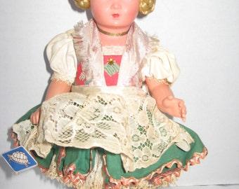 Schildrot Turtle Mark Celluloid German Doll Blonde Side Braids 10 inches all Original