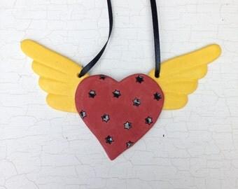 Winged Heart Ceramic Ornament