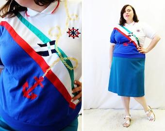 Plus Size - Vintage Nautical Embroidered Color Block Blouse (Size L 14/16)