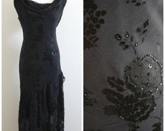 Vintage 80's Black Evening Dress-High Low with sequins and seed beads