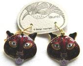 Vintage Early Laurel Burch1970s  Rare NOS Cloisonné Enamel Leopard Cat Pierced Earrings Sterling Silver 24k Gold Wash