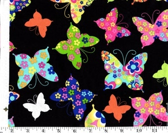 1 Yard, Multi Colored Butterflies on Black Cotton