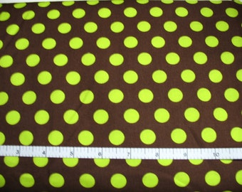 1 Yard, Lime Green Dots on Brown