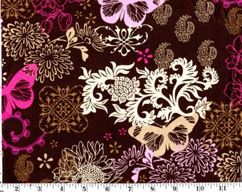 1 Yard, AGC by David Textiles Butterflies, Birds and Flowers on Brown