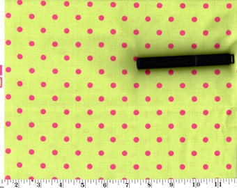 1 Yard, Pink Dots on Lime Green Cotton