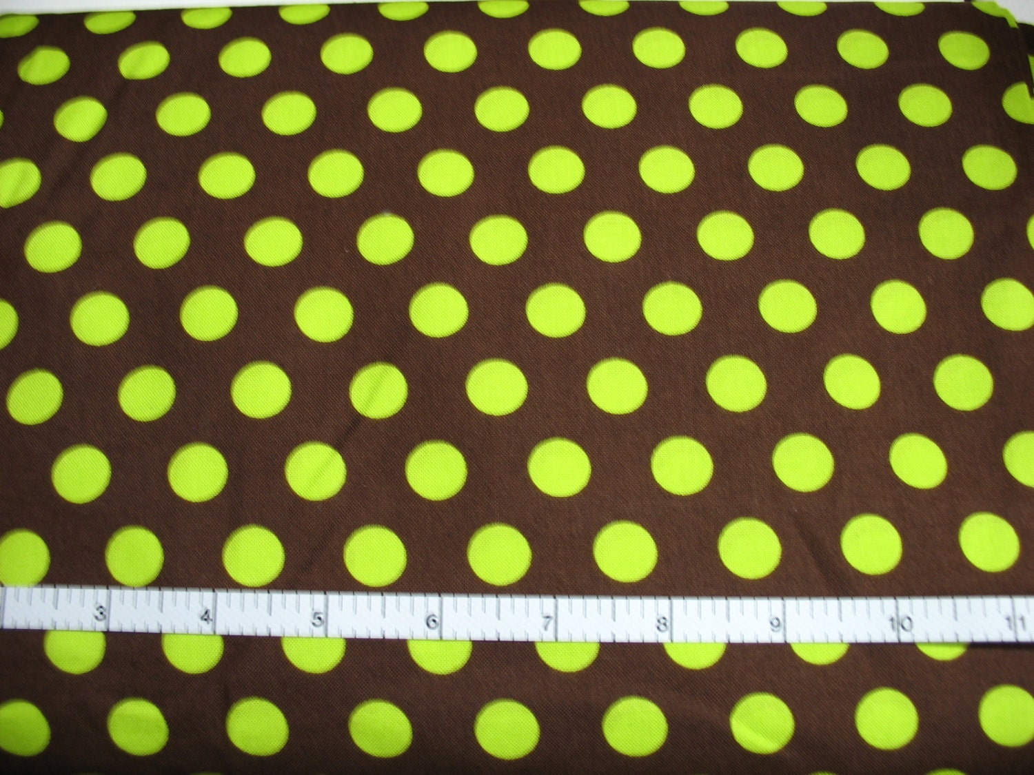 1 Yard Lime Green Dots On Brown From Honeybeesaprons On
