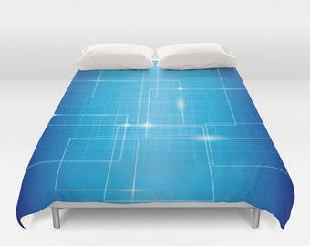 Light Blue Duvet Cover IT Duvet Cover Technology Duvet King Size Bed cover King Duvet Queen Size Blue Duvet Blue Pattern Duvet 88x88 duvet