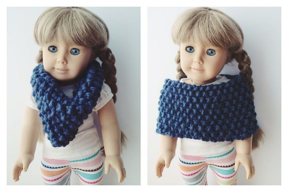 "American Girl 18"" Doll Cozy Nautical Blue Cowl Capelet"