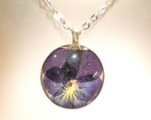 Pansy Real Pressed Flower Viola Round Glass Pendant Necklace