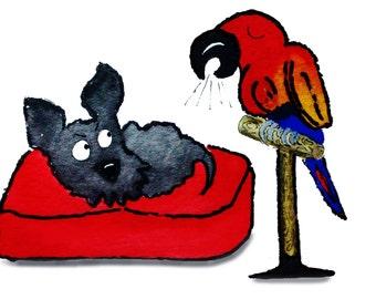 Scottie Dog & Parrot 'Noisy Bird' Lustre Art  Print
