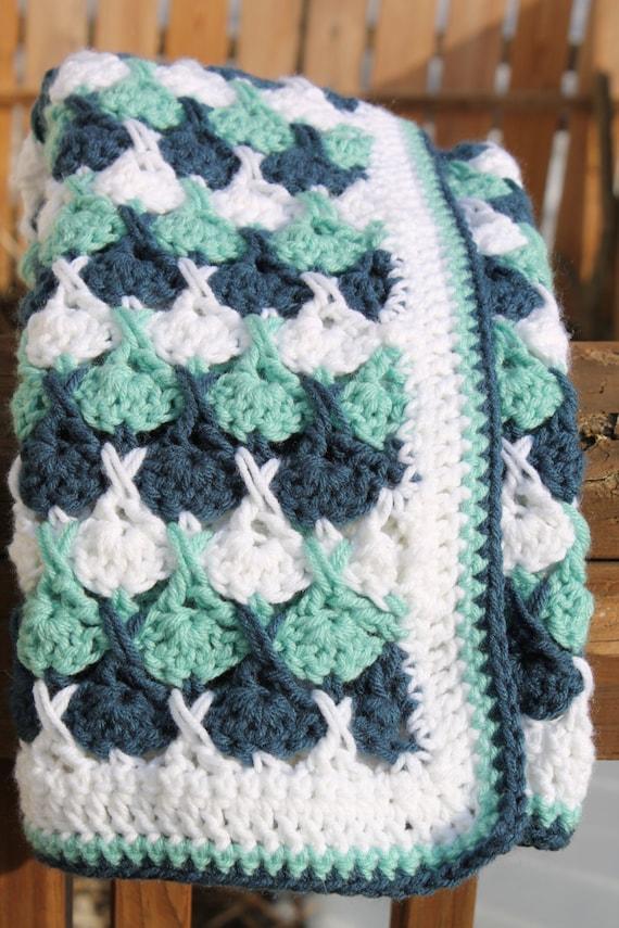 Hugs And Kisses Crochet Baby Blanket Pattern : Baby Blanket Afghan Dark Blue Teal White colors crocheted