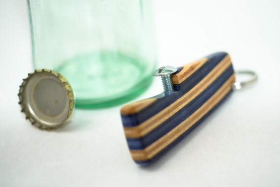 Recycled Skateboard Bottle Opener Keychain / Layered