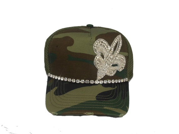 items similar to camouflage womens bling trucker hat on etsy