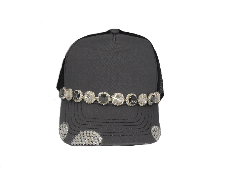 grey bling womens trucker hat by timetwochange on etsy