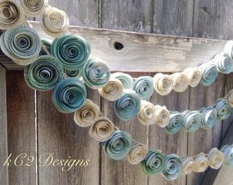 Paper Flower Garland teal garland Wedding Garland. Book page flowers