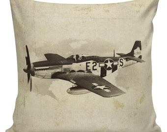 Military History, Throw Pillow, Pillow Cover, Military Family, Airplane, P51 Mustang, 4th of July,  Cotton Throw Pillow Cover, #MI0002