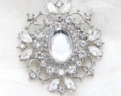 Rhinestone appliqué, Crystal appliqué, Wedding brooch, Bridal sash, Crystal buckle - Nothing at Back