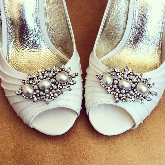 Pearl Shoe Clips - Rhinestone Shoe Clips - Set of 2 - BRAND NEW