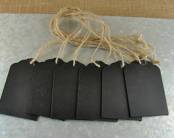 Chalkboard Tags With Jute Twine - Make Great Wedding Table Numbers - Six Pieces