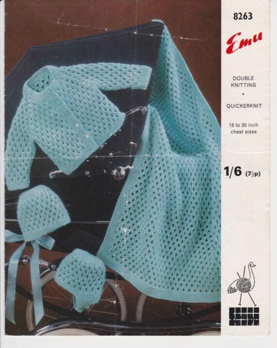 Knitting Pattern Blanket Cardigan : baby knitting pattern cardigan and bonnet pram blanket