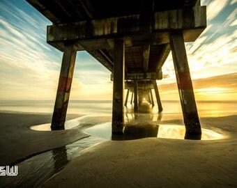 "Under The Pier - Landscape  - Ocean Art -Fine Art Photography 10""X7"""