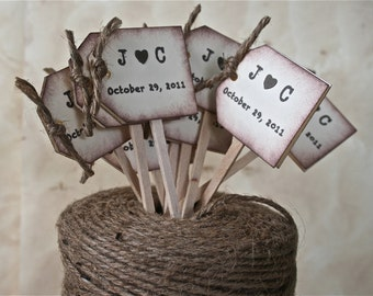 Rustic Wedding Cupcake Toppers, Wedding Drink Stirrers