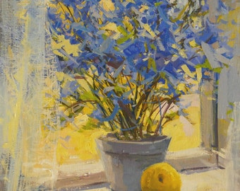 Yellow Blue Flowers Painting Print - Floral Canvas Art Yellow Blue Wall Art Giclee Print