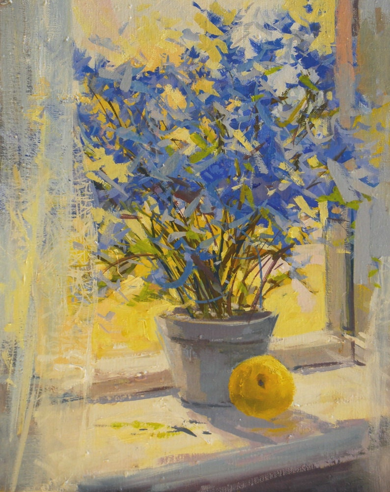 Yellow blue flowers painting print floral canvas art yellow for Flower paintings on canvas