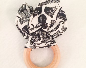 Maple Teething Ring/Fabric Ear Combo in Vintage Manly Mustaches