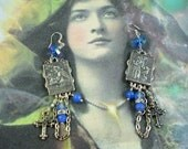 Vintage Italy religious medals earrings, blue agate earrings, cross charm earrings, assemblage earrings, Sts. Franciscus,Antoni earrings