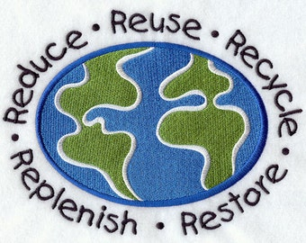 Reduce Reuse Recycle Embroidered on Made-to-Order Pillow Cover