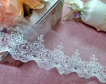 """CN012-4""""  White Embroidered  Tulle Mesh Lace/Bridal/Lolita/  Trim by Yard"""