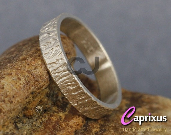 Handcrafted Men's, Women, Unisex Wood Bark, Tree Bark Texture Ring, 925K Sterling Silver Thick Wedding Band - 4mm - FREE Sizing & Engraving