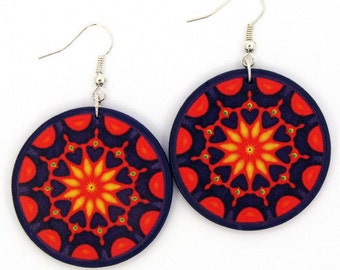 Decoupage Earrings, Orange Mandala, Handmade Bohemian Earrings, Orange Purple Mandala Earrings, Decoupage Jewelry