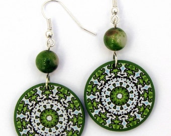 Beadead Natural Stone Earrings, Green Dangle Earrings, Unique Decoupage Jewelry, Sterling Silver Jewelry, Mountain Jade Semi Precious Stone