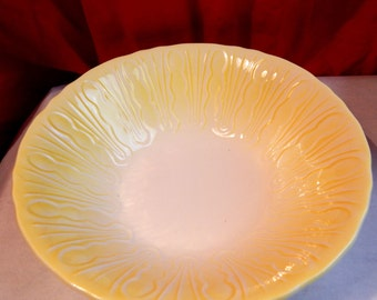 Bowl - Circa 1950's Ceramic Bowl Yellow - White - Perfect for Vegetables